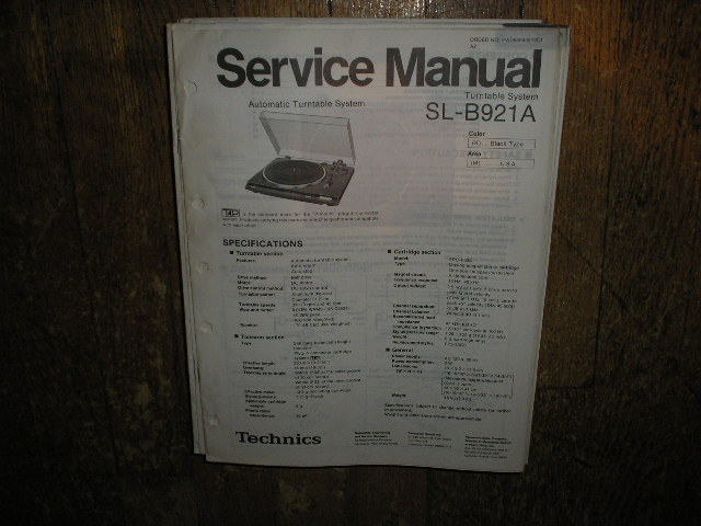 SL-B921A Turntable Service Manual