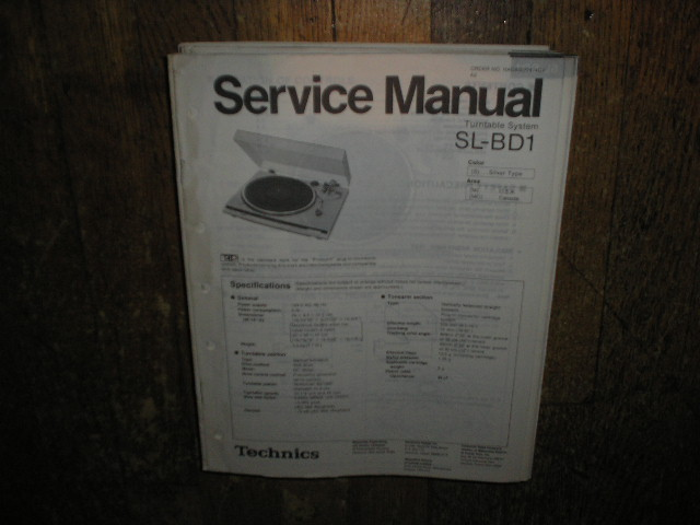 SL-BD1 Turntable Service Manual