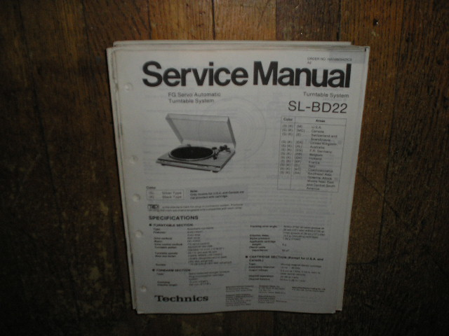 SL-BD22 Turntable Service Manual