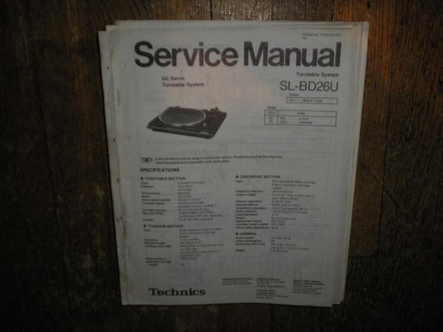 SL-BD26U Turntable Service Manual