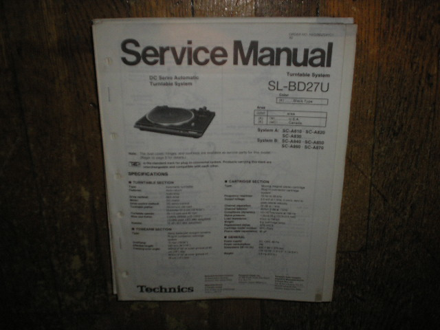 SL-BD27U Turntable Service Manual