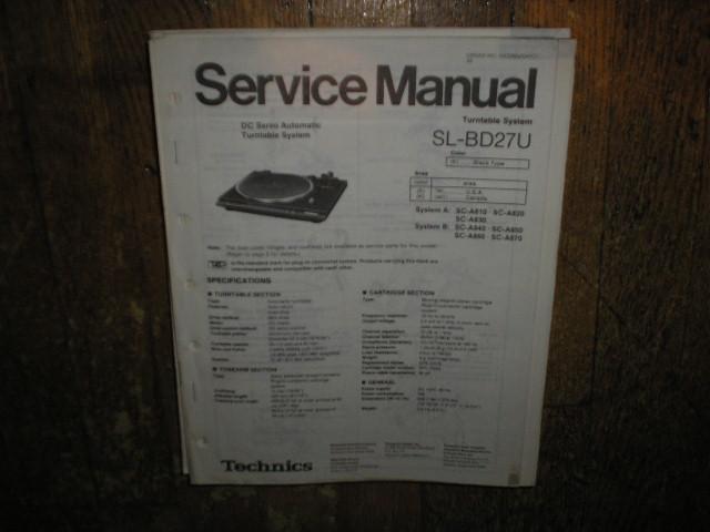 SL-BD27U Turntable Service Manual