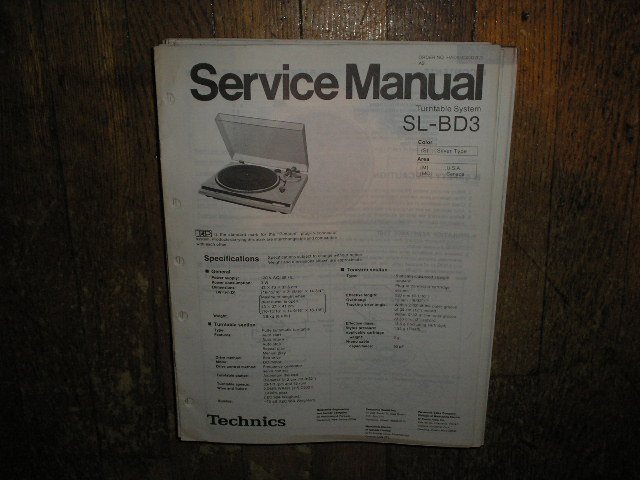 SL-BD3 Turntable Service Manual