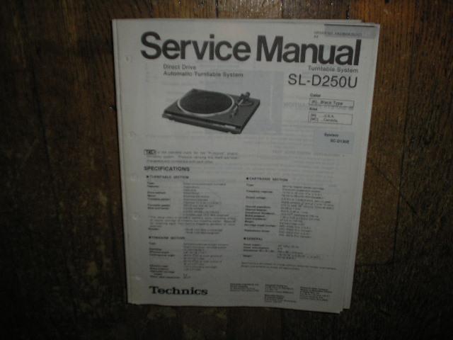 SL-D250U Turntable Service Manual