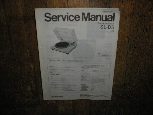 SL-D5 Turntable Service Manual