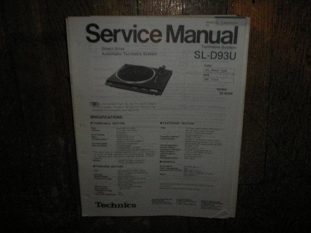 SL-D93U Turntable Service Manual
