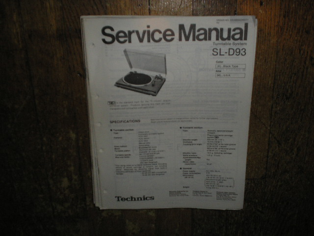 SL-D93 Turntable Service Manual