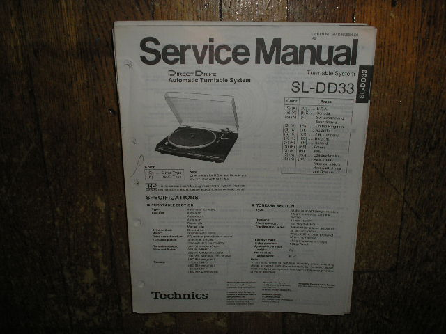 SL-DD33 Turntable Service Manual
