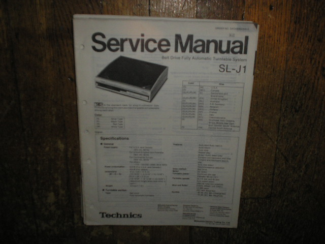 SL-J1 Turntable Service Manual