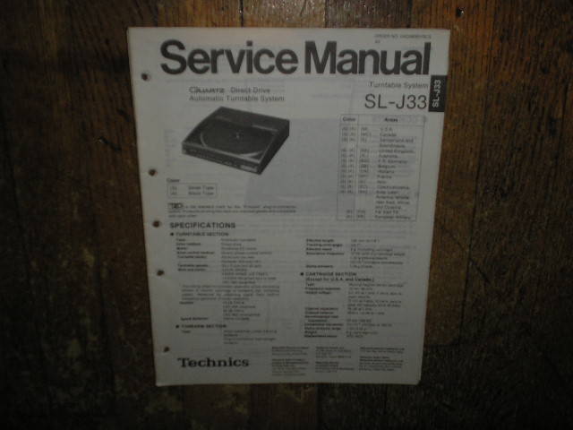 SL-J33 Turntable Service Manual