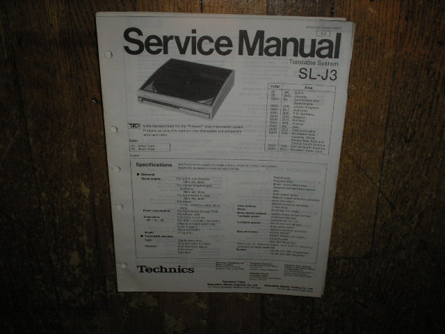 SL-J3 Turntable Service Manual