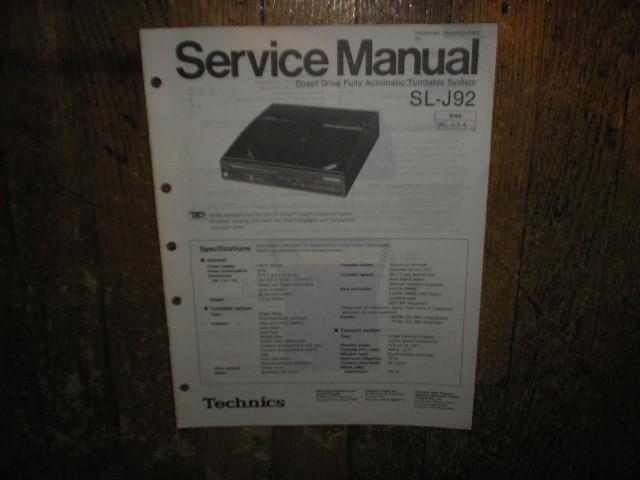 Technics SL-J92 Turntable Service Manual