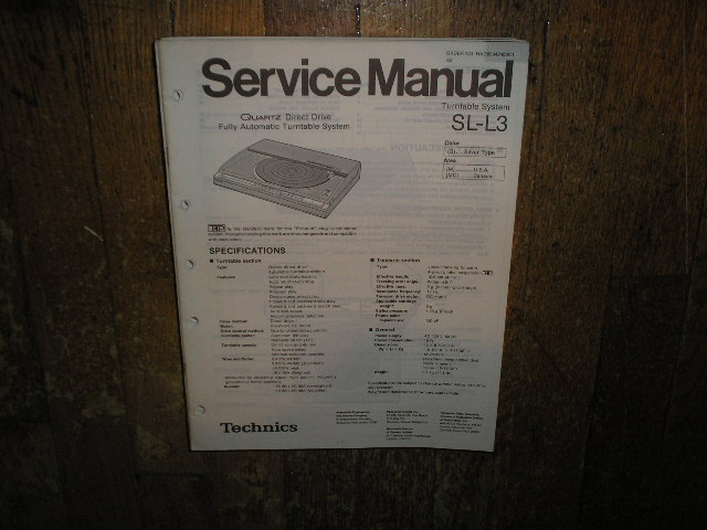 SL-L3 Turntable Service Manual