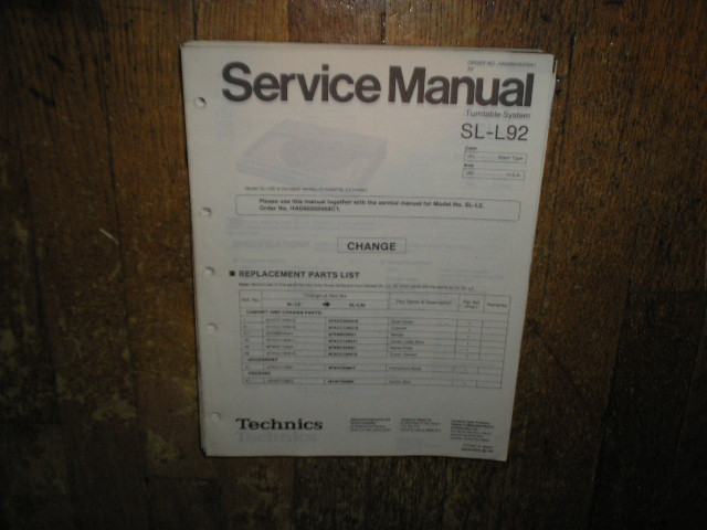 SL-L92 Turntable Service Manual