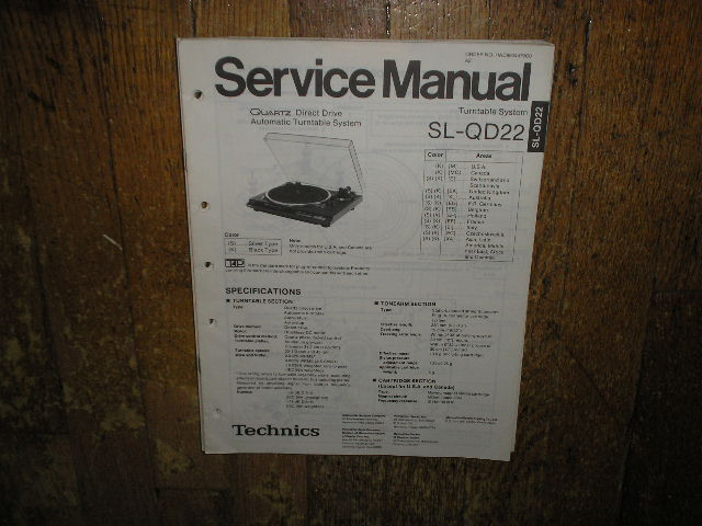 SL-QD22 Turntable Service Manual