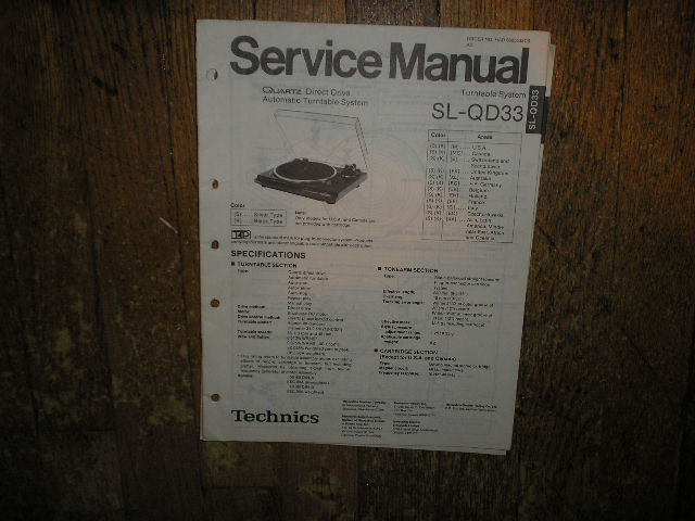 SL-QD33 Turntable Service Manual