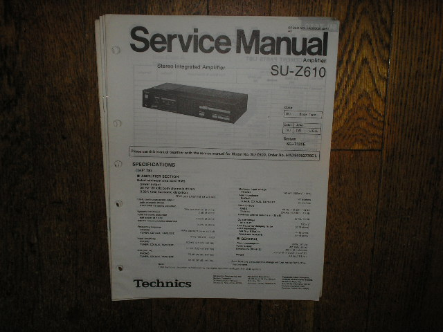 SU-Z610 Amplifier Service Manual