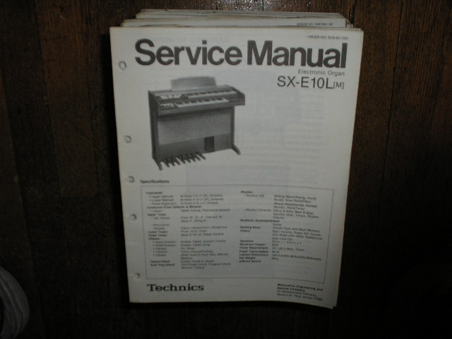 SX-E10L SX-E10L M Electric Organ Service Manual