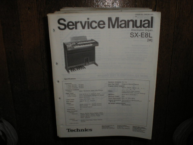 SX-E8L Electric Organ Service Manual