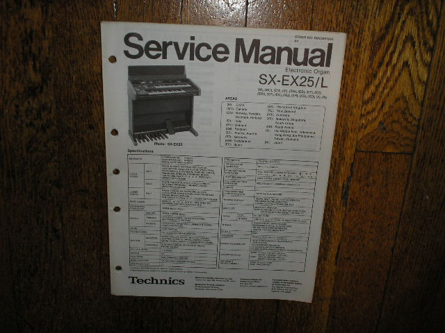 SX-EX25 SX-EX25L Electric Organ Service Manual