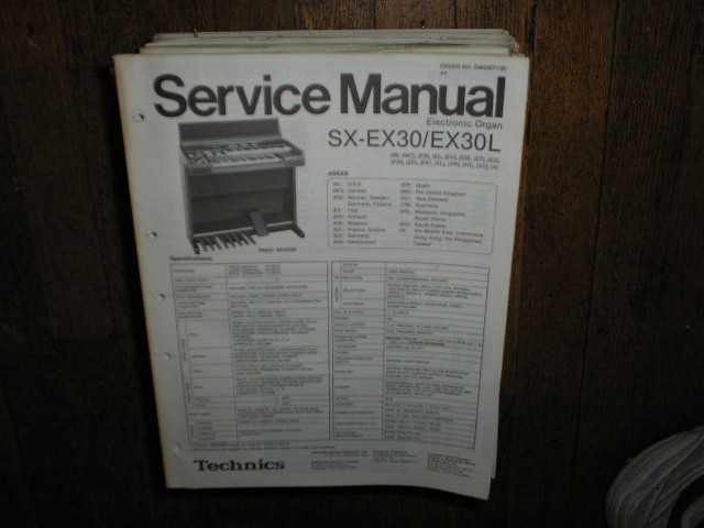 SX-EX30 SX-EX30L Electric Organ Service Manual