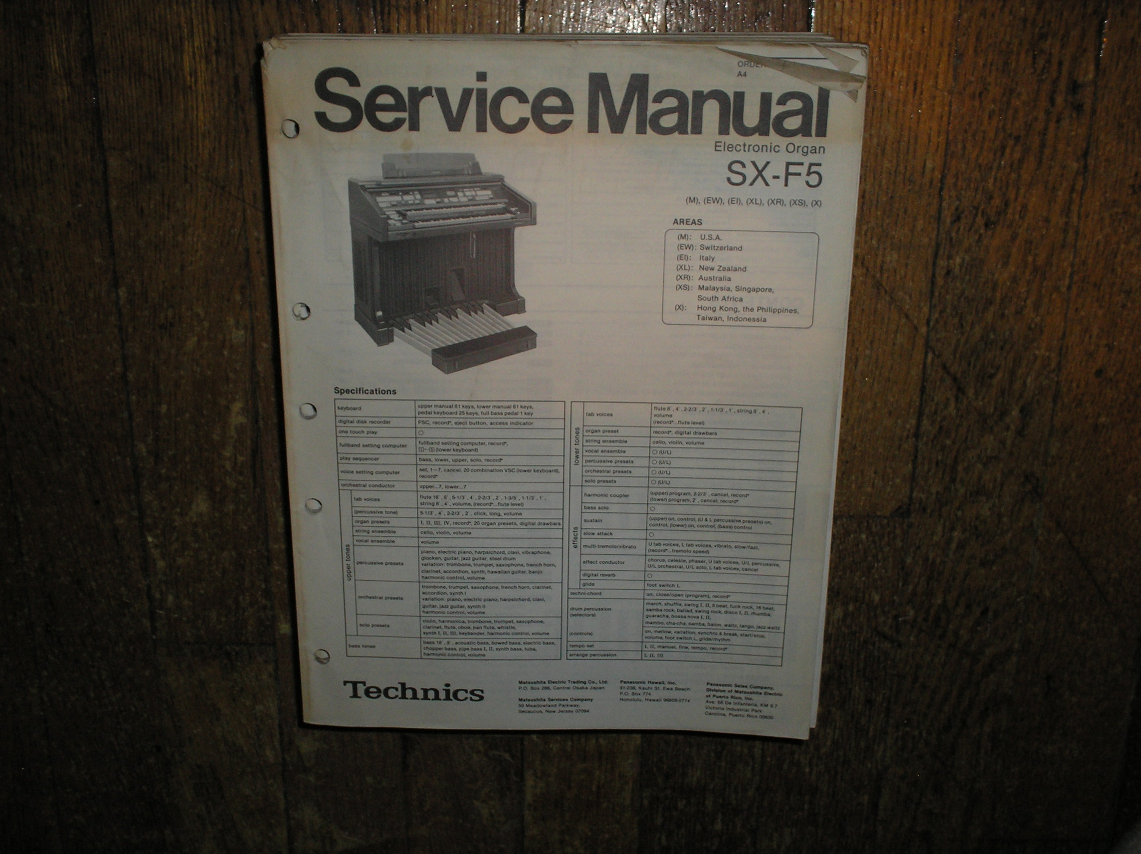 SX-F5 Electric Organ Service Manual
