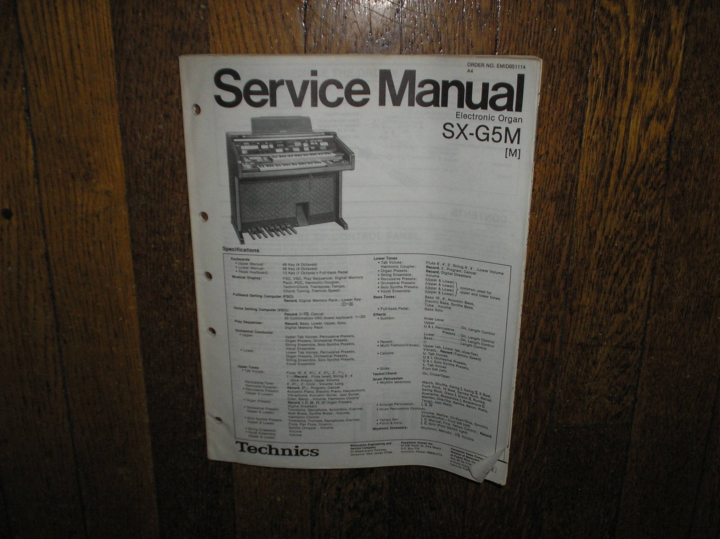 SX-G5M  m  Electric Organ Service Manual