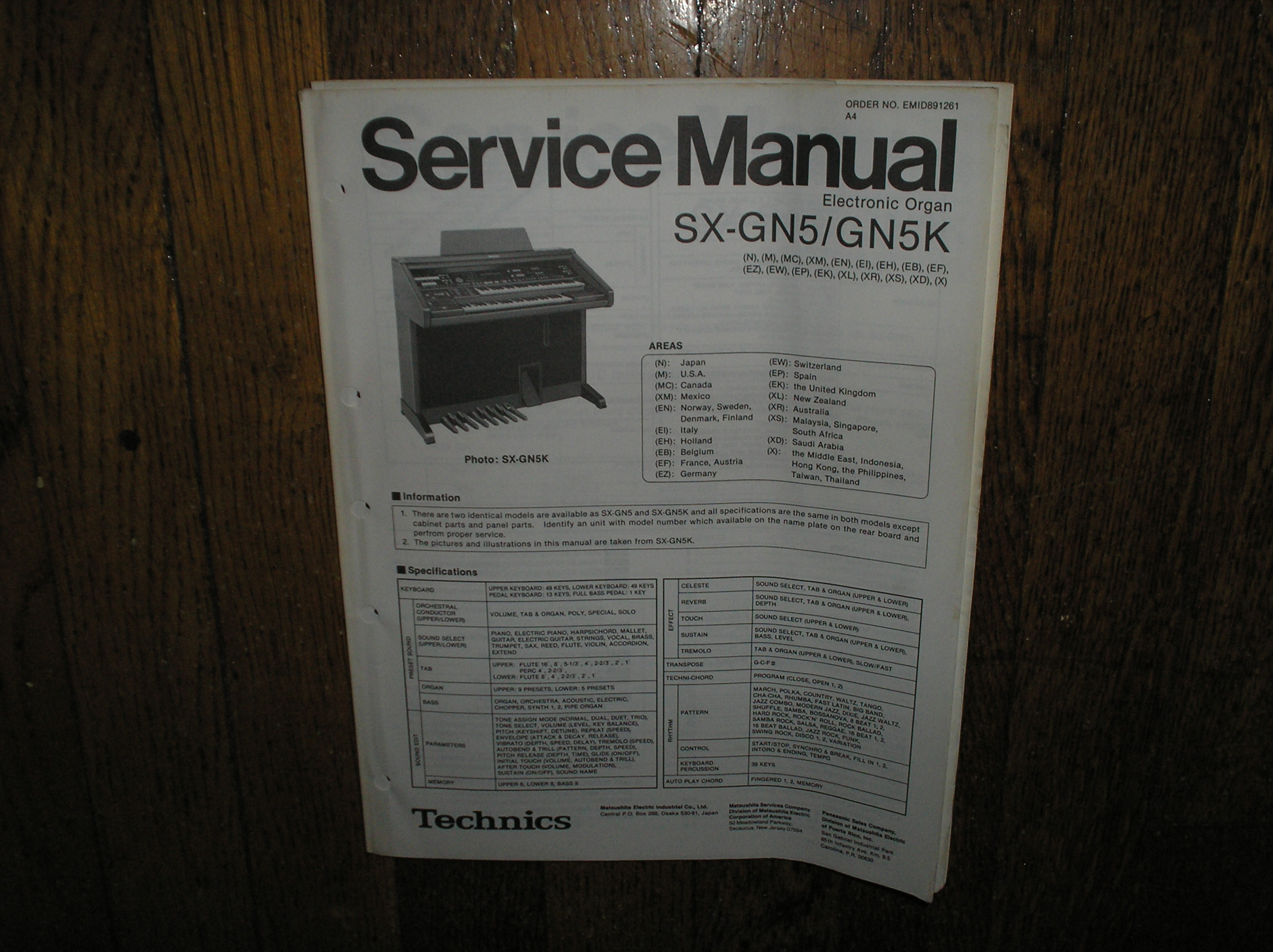 SX-GN5 SX-GN5K Electric Organ Service Manual
