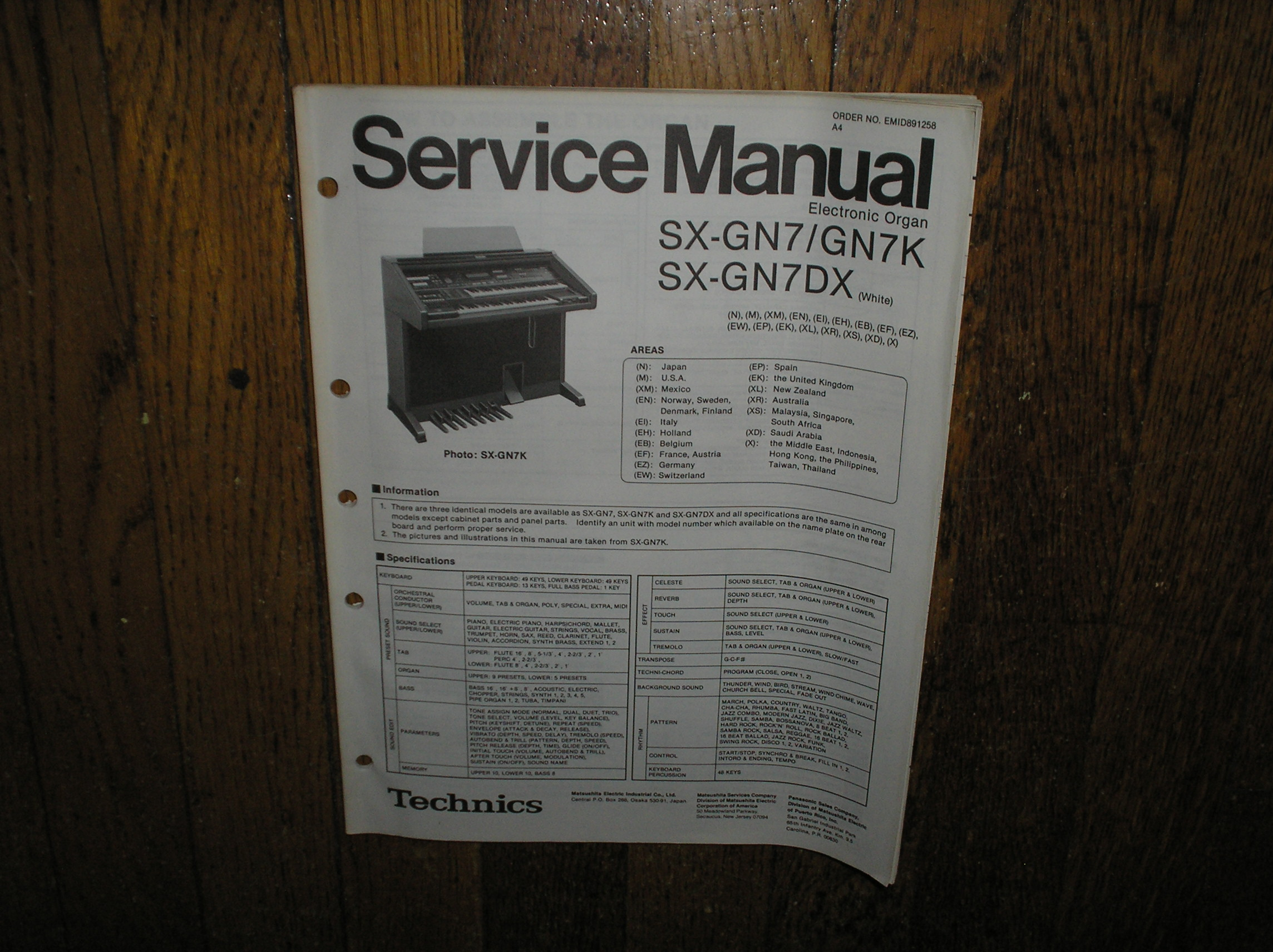 SX-GN7 SX-GN7K SX-GN7DX Electric Organ Service Manual