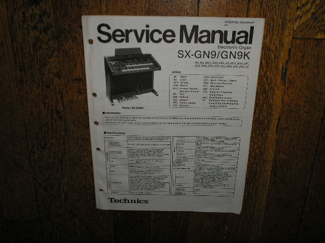 SX-GN9 SX-GN9K Electric Organ Service Manual