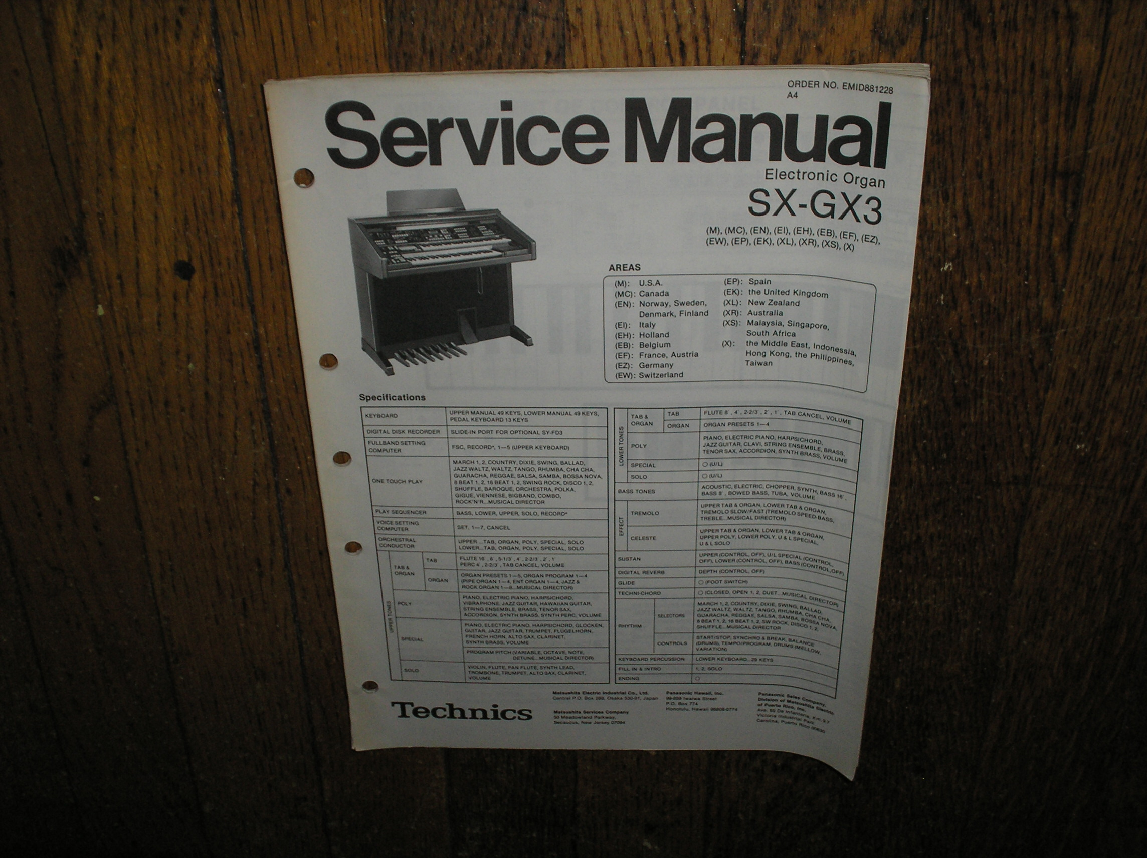 SX-GX3 Electric Organ Service Manual
