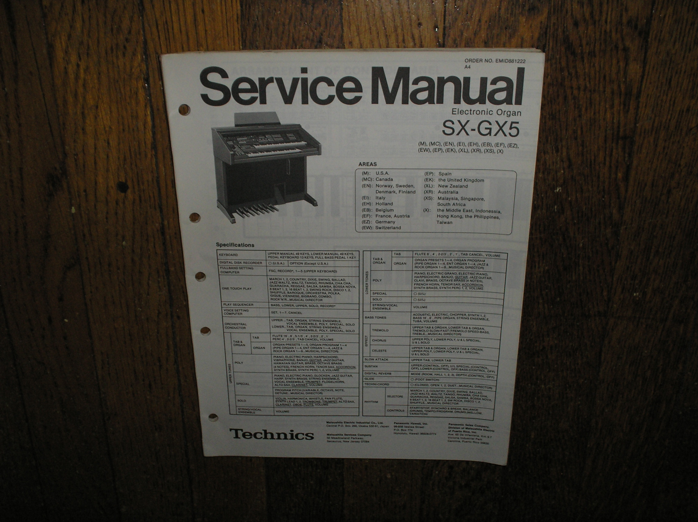 SX-GX5 Electric Organ Service Manual