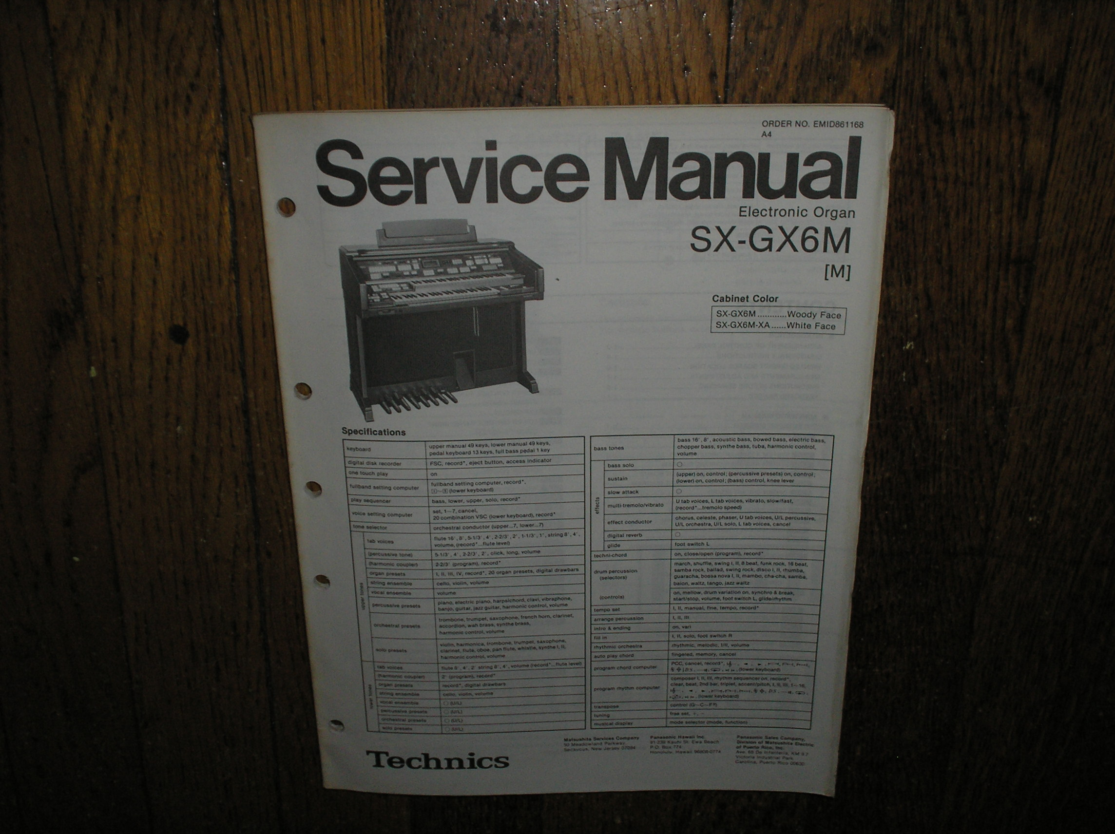 SX-GX6M SX-GX6XA Electric Organ Service Manual