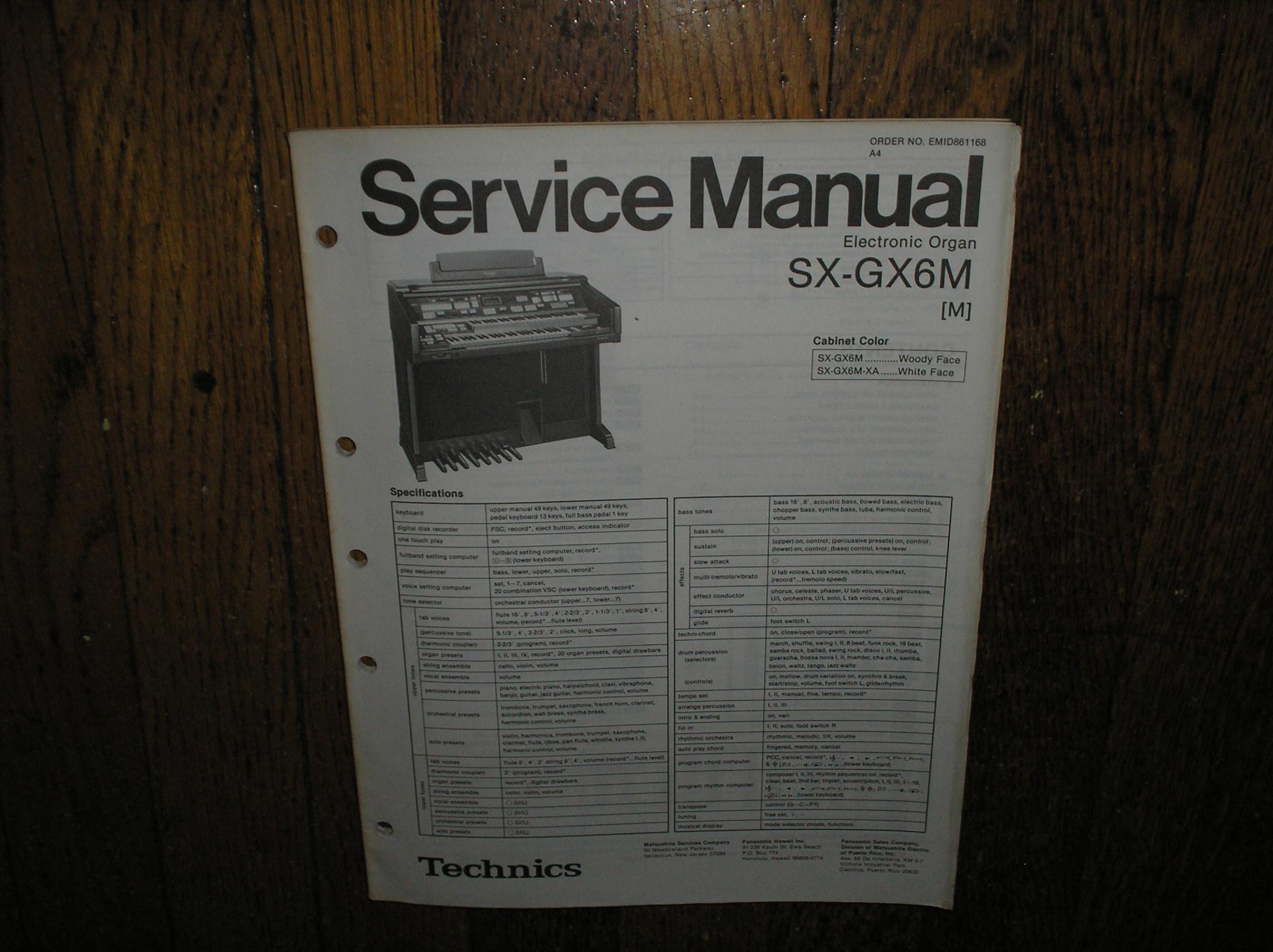 SX-GX6M SX-GX6XA Electric Organ Service Manual
