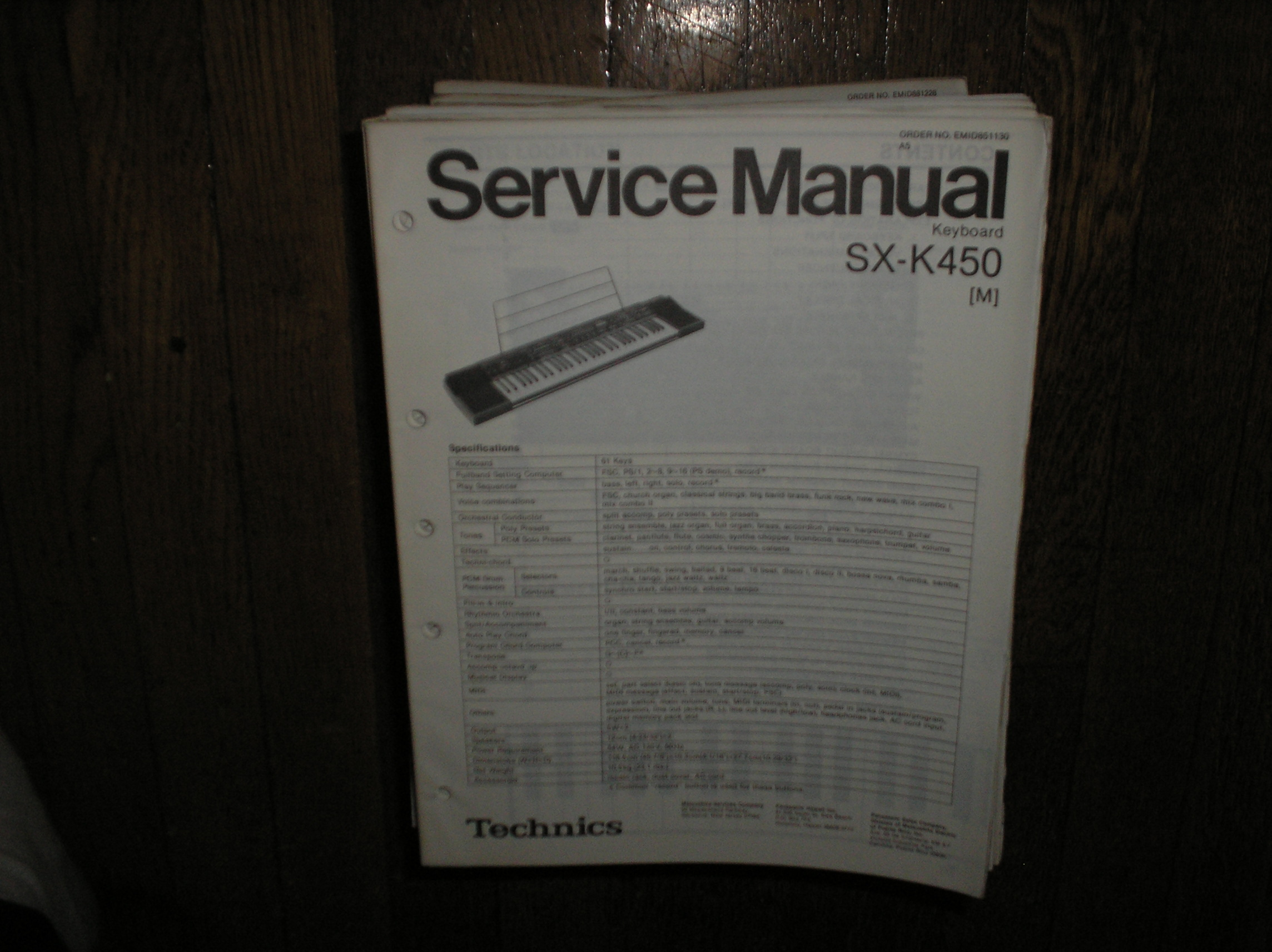 SX-K450 Electric Organ Service Manual