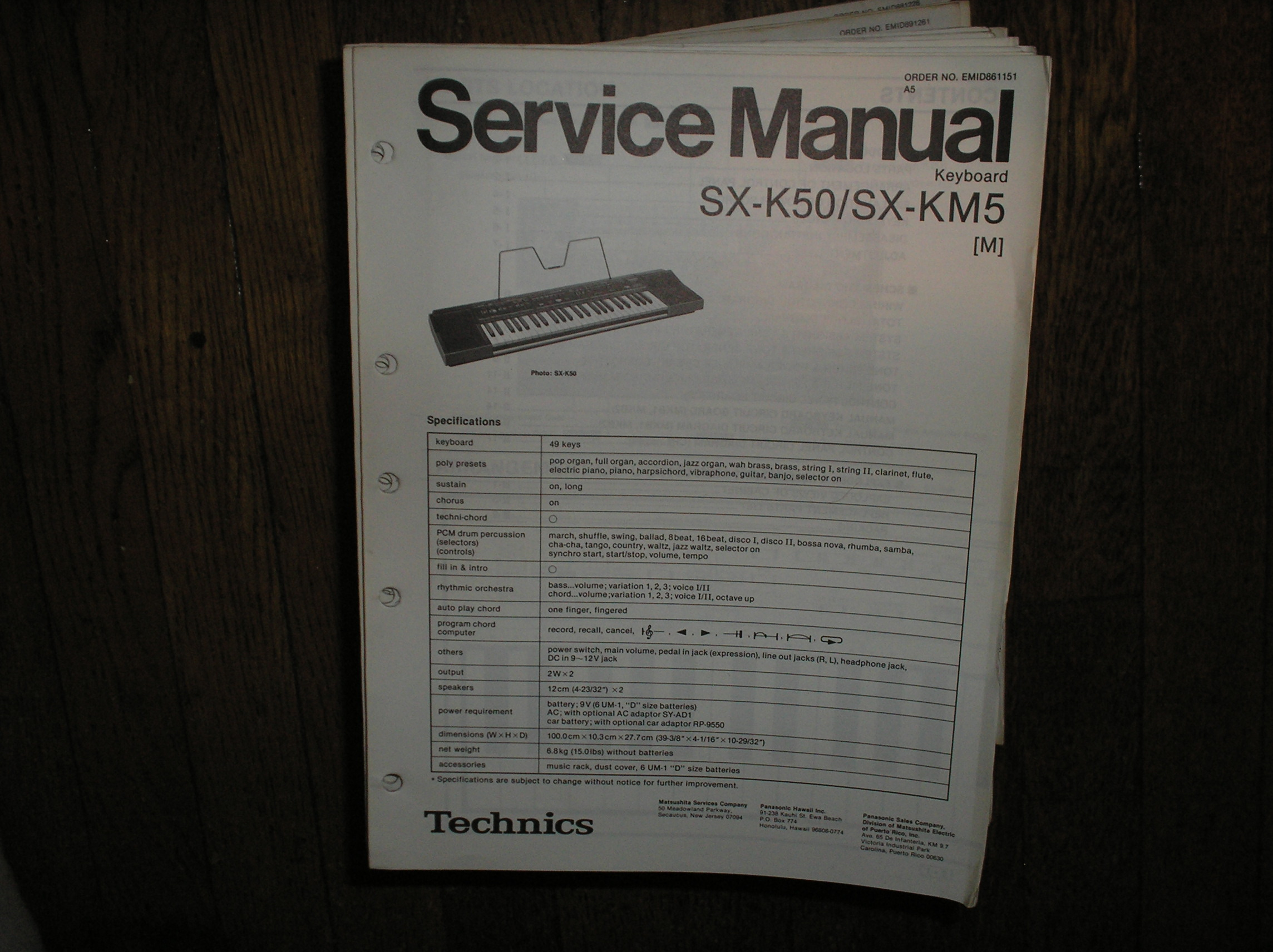 SX-K50 SX-KM5 Electric Organ Service Manual