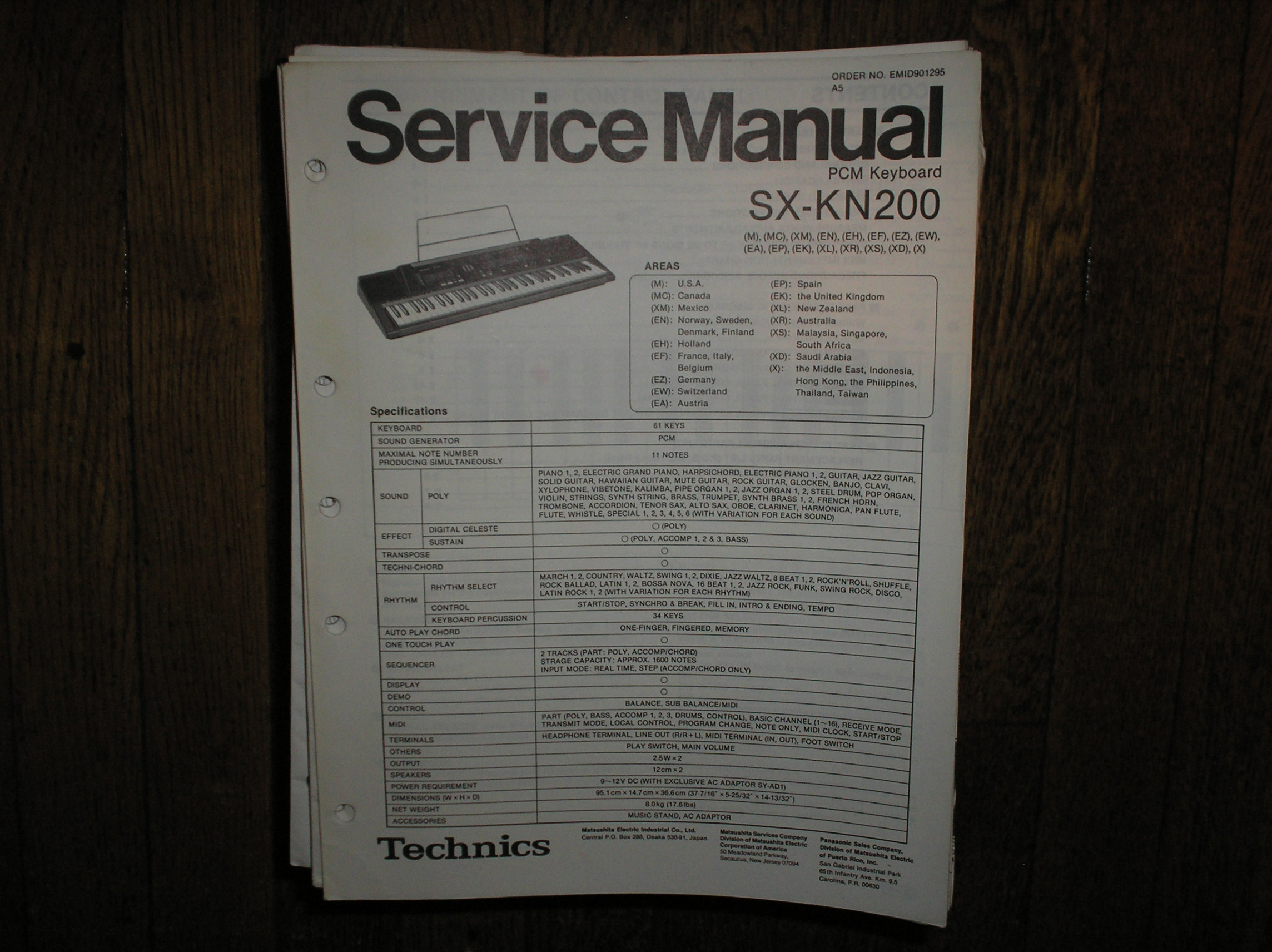 SX-KN200 PCM Keyboard Service Manual