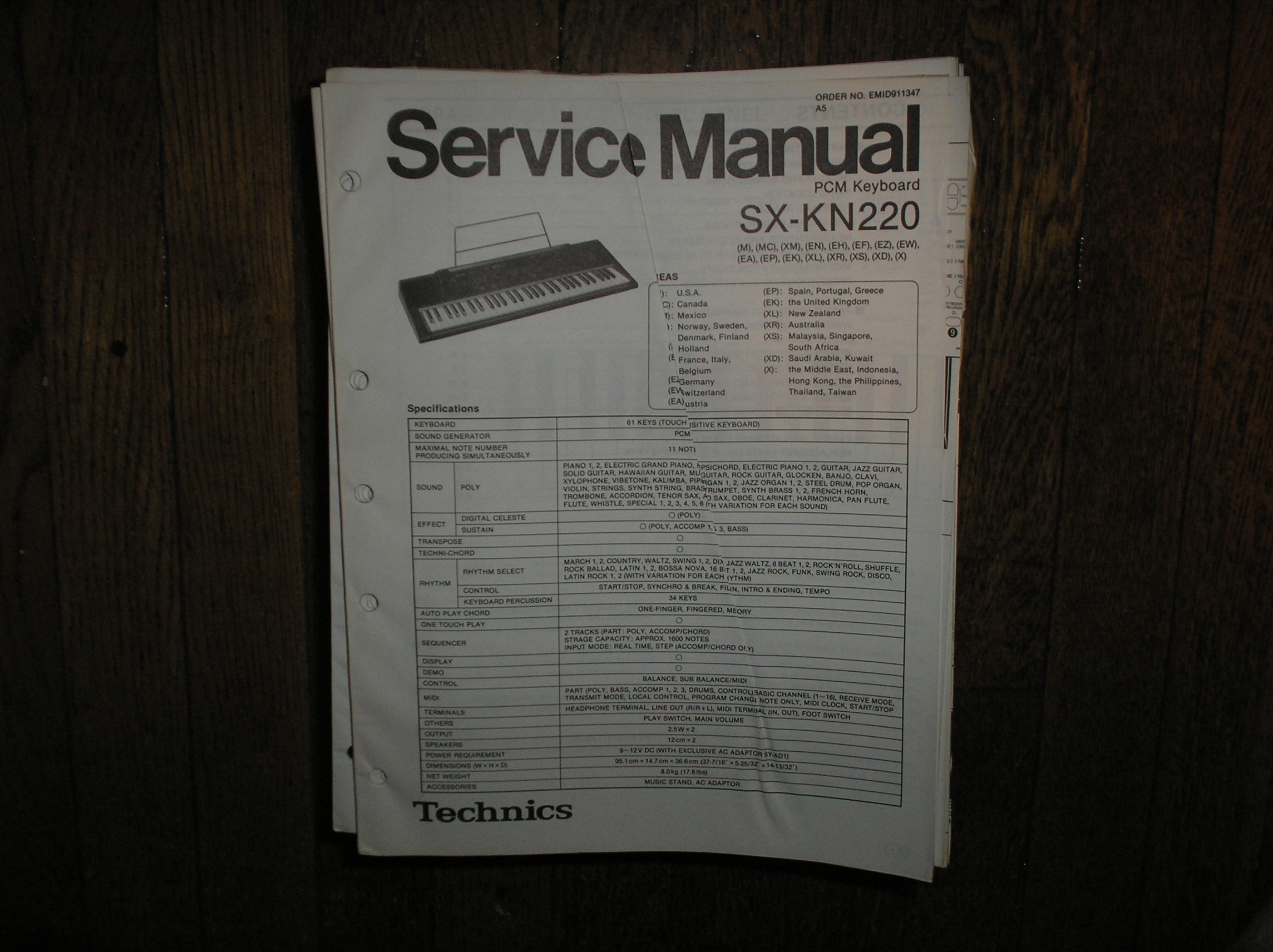 SX-KN220 PCM Keyboard Service Manual