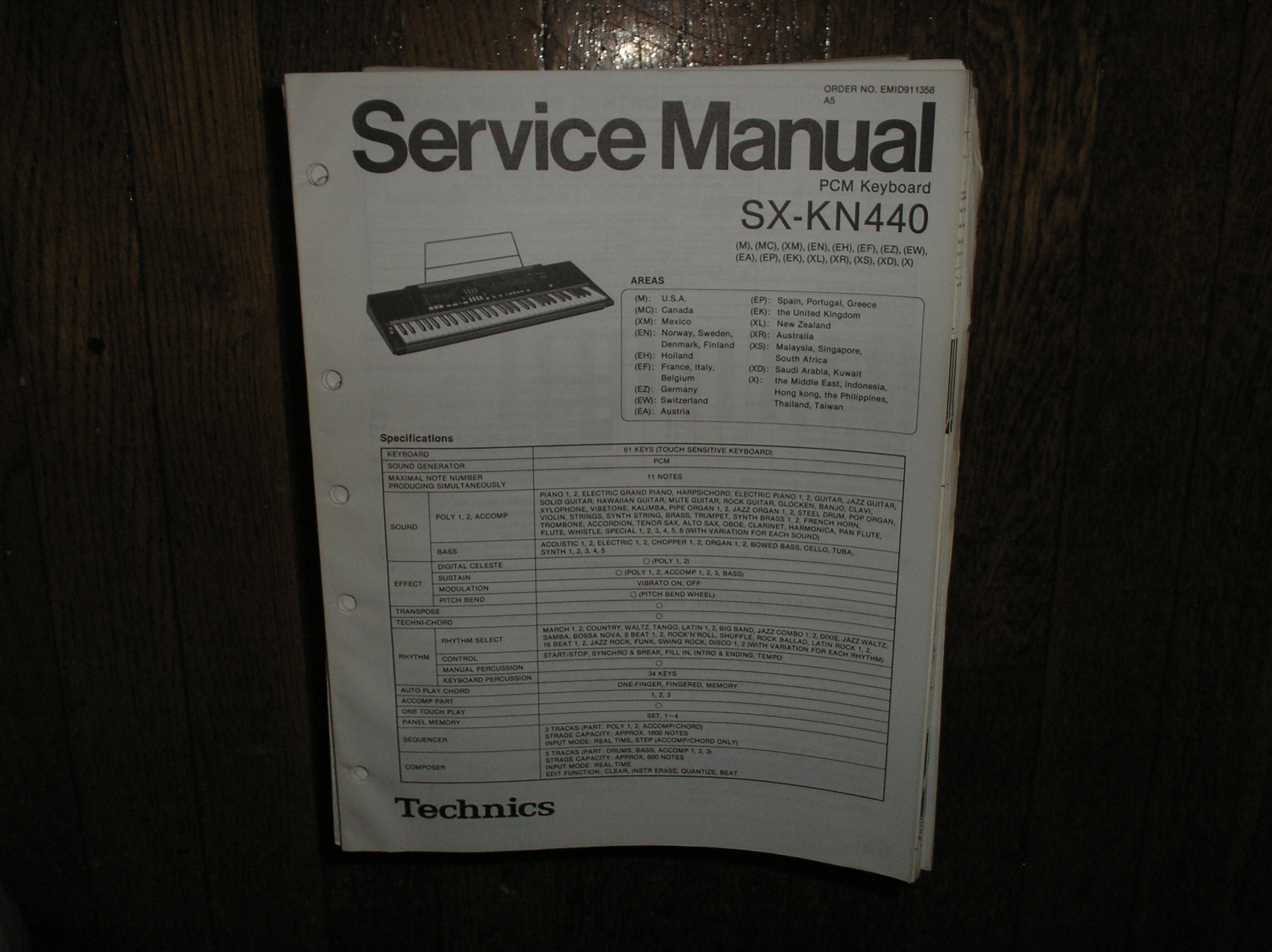 SX-KN440 PCM Keyboard Service Manual