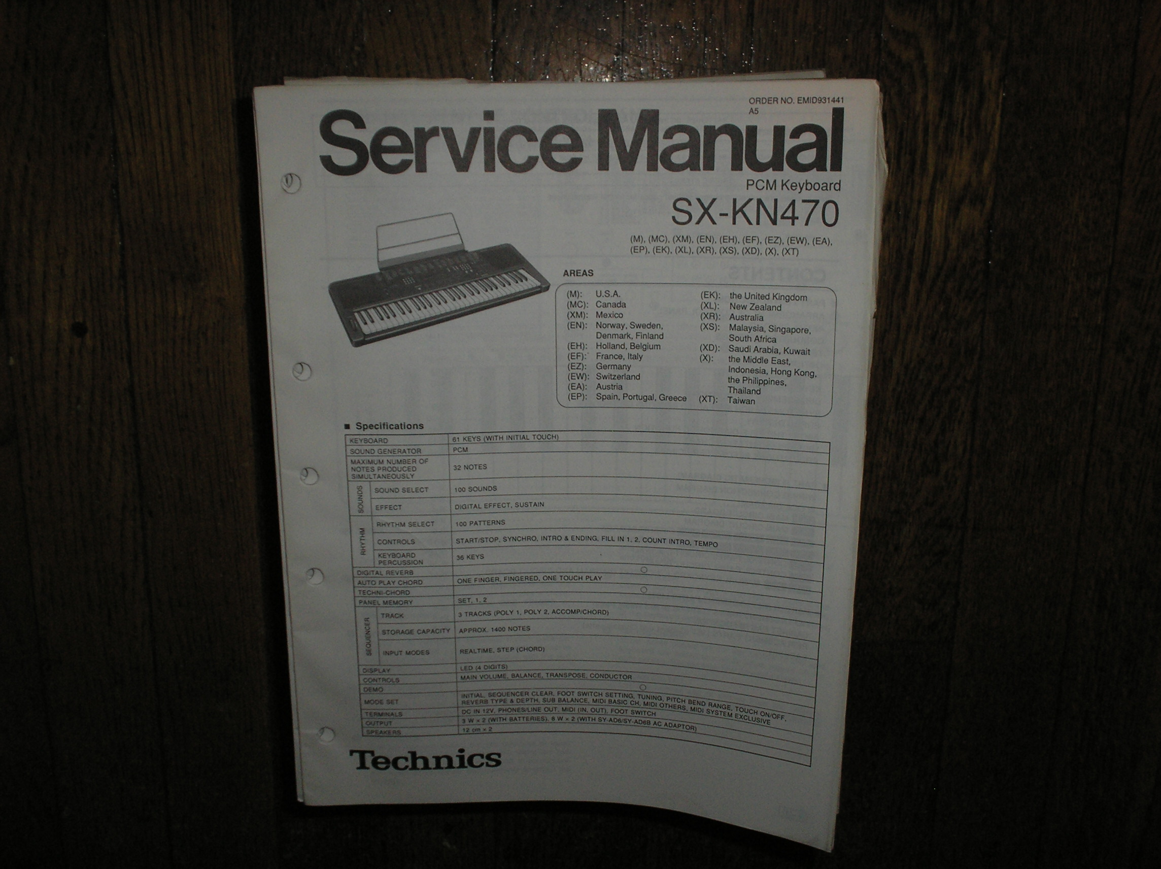 SX-KN470 PCM Keyboard Service Manual