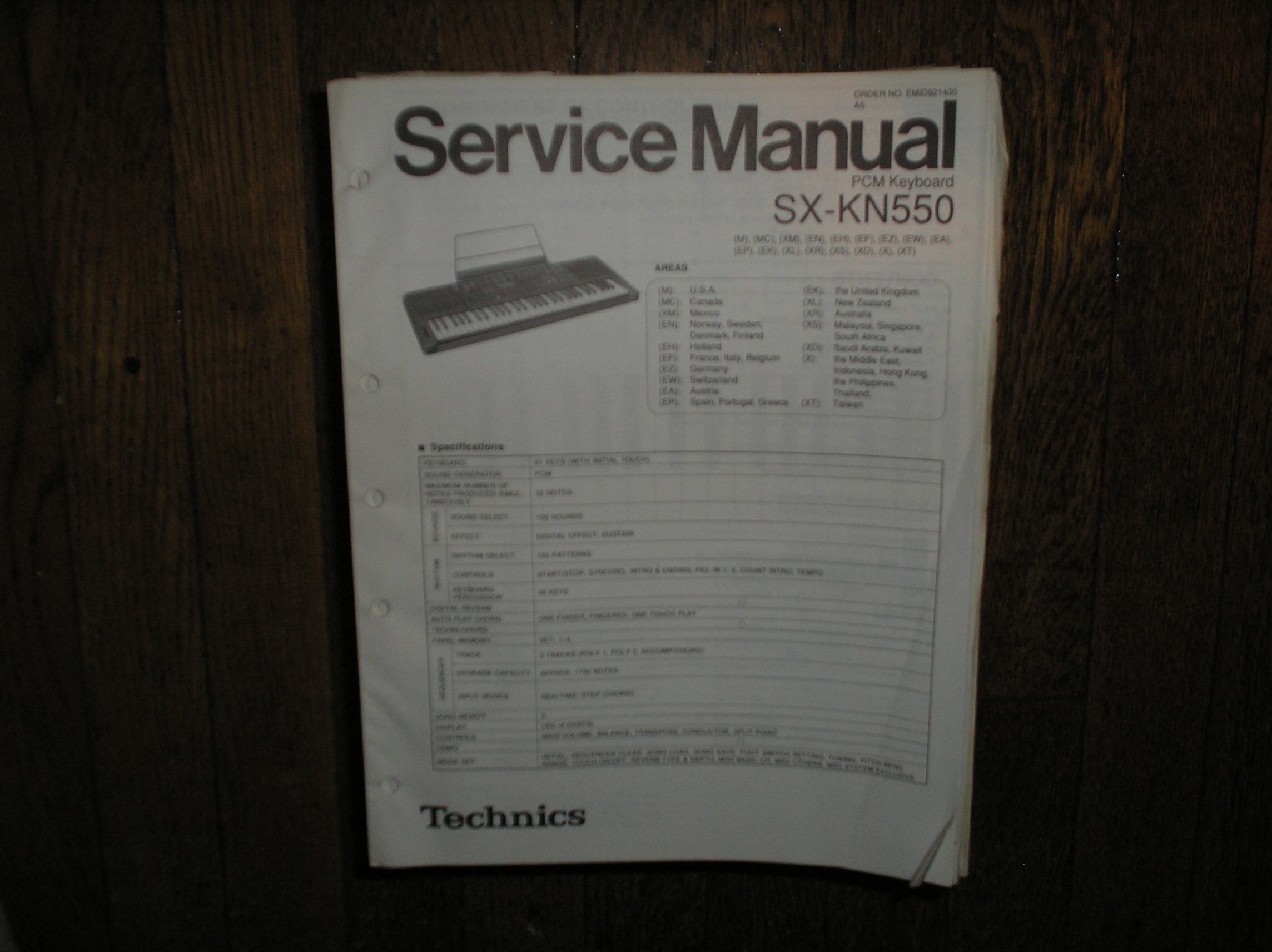 SX-KN570 PCM Keyboard Service Manual