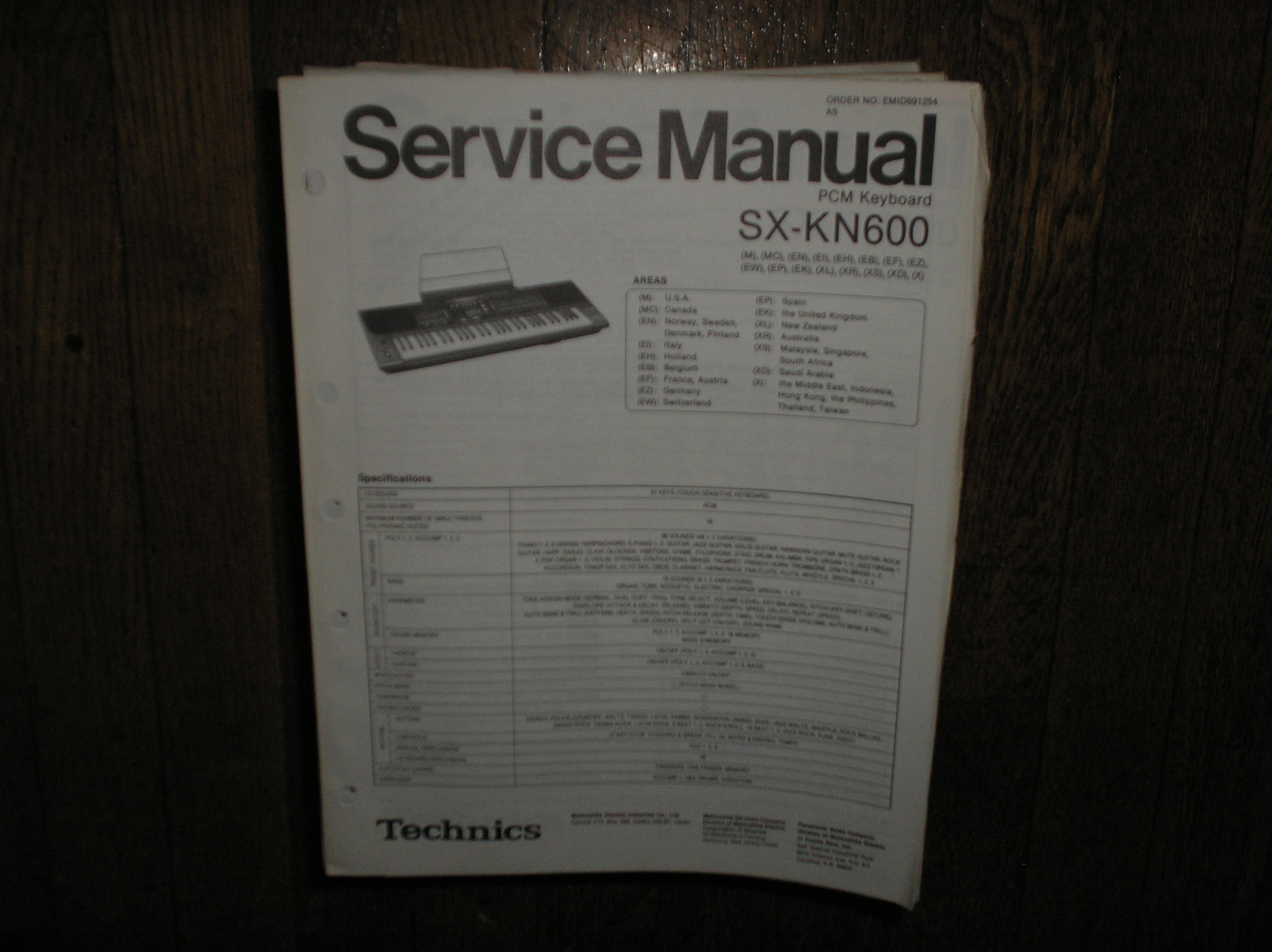 SX-KN600 PCM Keyboard Service Manual