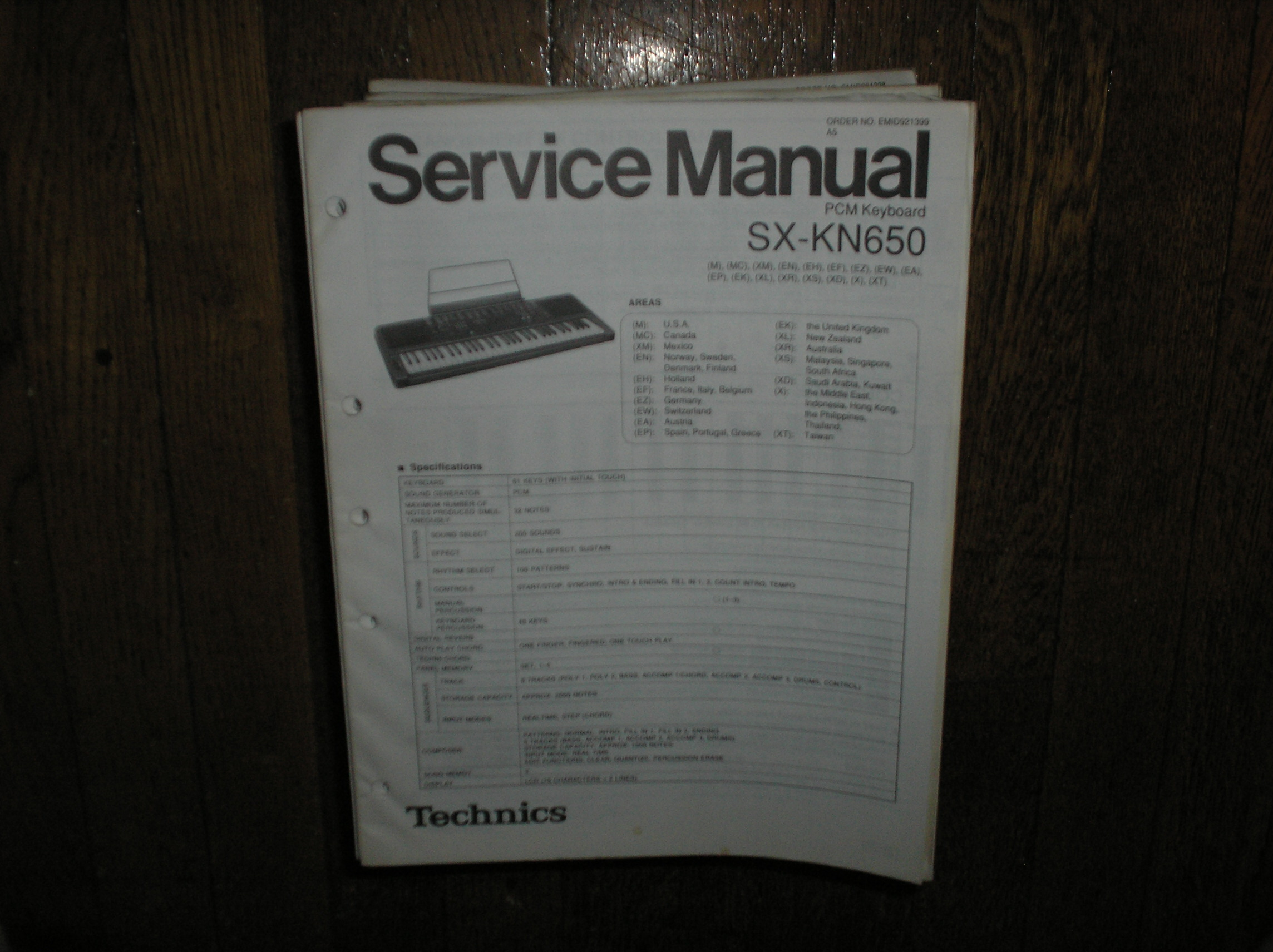 SX-KN650 PCM Keyboard Service Manual