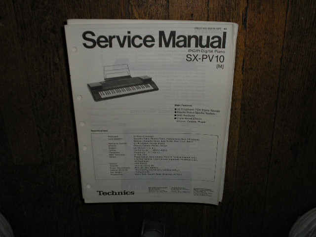 SX-PV10 PCM Digital Piano Service Manual