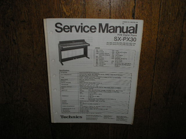 SX-PX30 PCM Digital Piano Service Manual