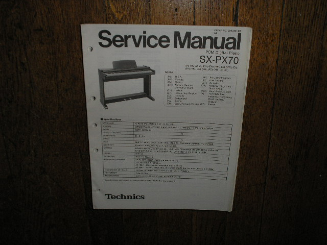 SX-PX70 PCM Digital Piano Service Manual