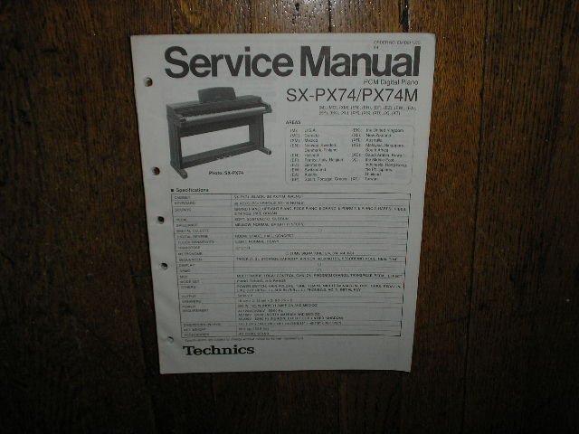 SX-PX74 SX-74M  PCM Digital Piano Service Manual