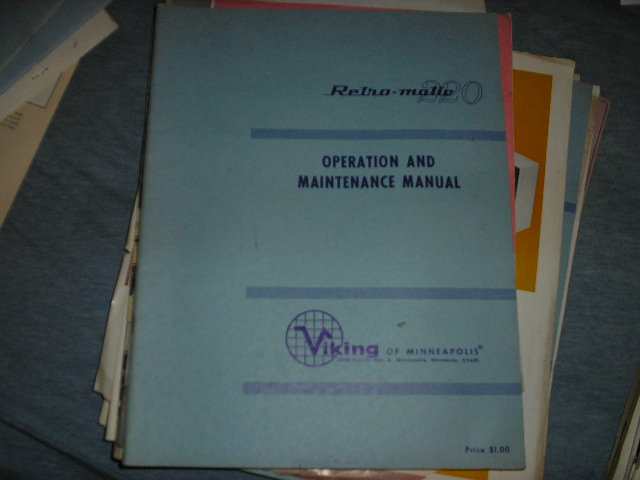 Retro-Matic 220 Operating Instruction Service Manual  Viking