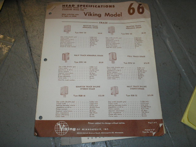 66 Head Specification Data Sheet  Viking