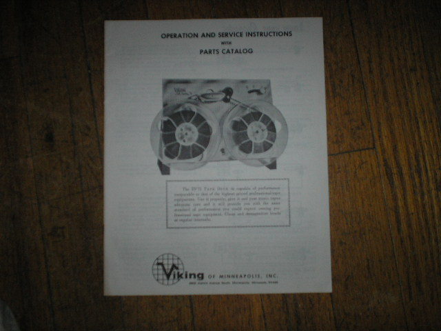 FF75 Reel to Reel Operating Service Instruction Manual  Viking